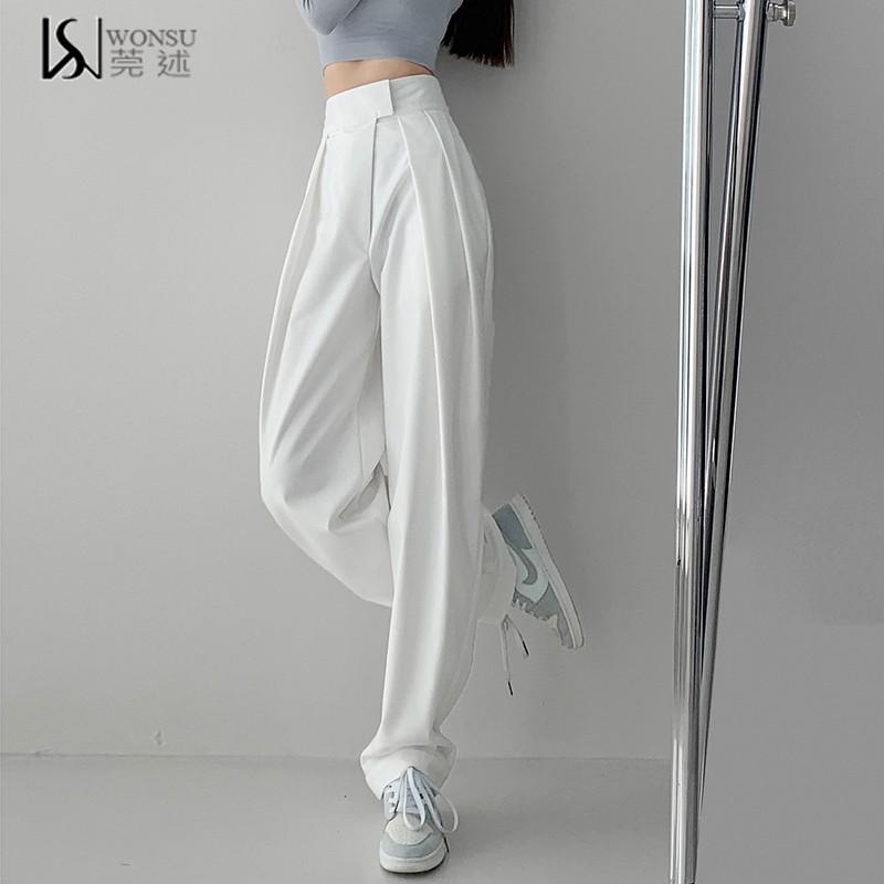 魔术贴设计高腰西装裤女垂坠感宽松锥形萝卜裤休闲加长拖地阔腿裤