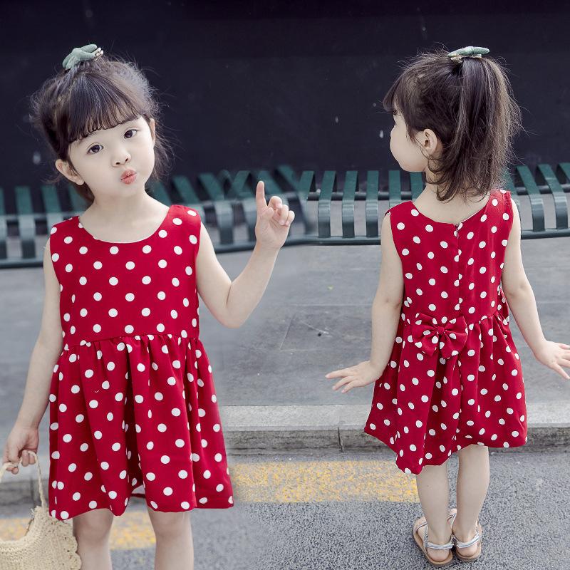 碎花裙童装童裙波点无袖收腰公主裙夏季童裙清凉圆点小红裙连衣裙