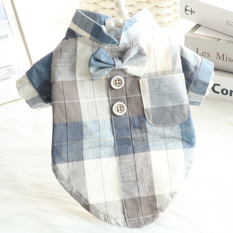 Dog clothing spring clothing summer thin cat Chinese Bow Tie collar shirt suit dress small dog pet 2872