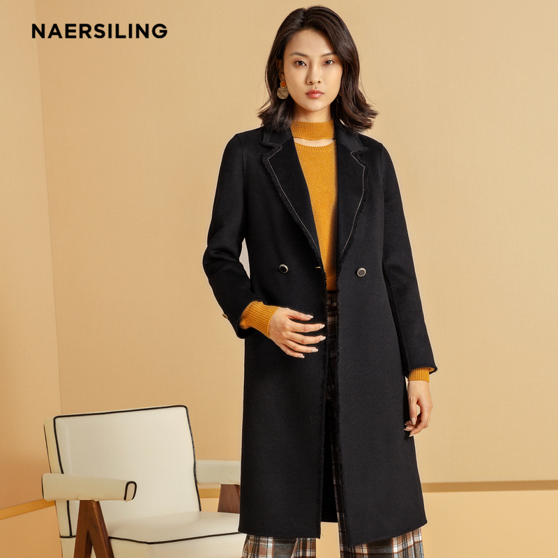 [nalsling] womens black wool double-sided tweed coat new tweed coat womens middle and long