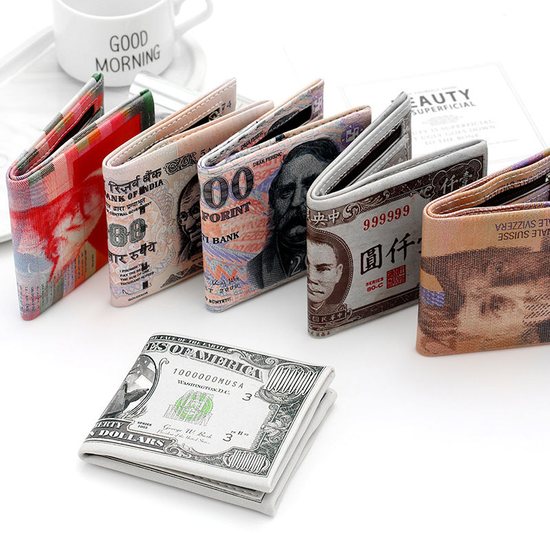 [PU leather short money] wallet neutral mens and womens printing dollar bill zero wallet creative funny gift