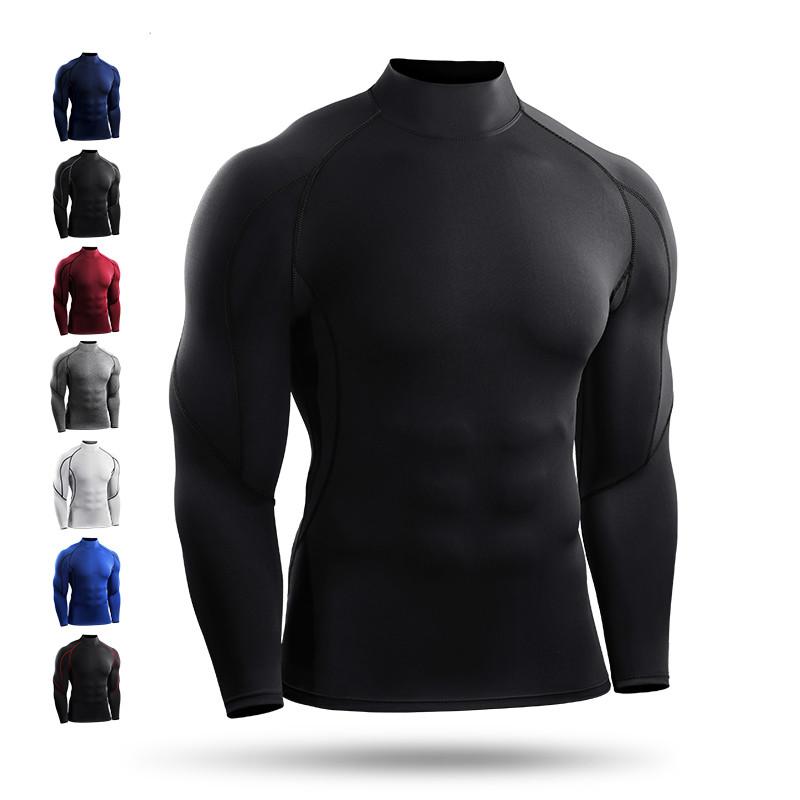 秋冬高领跑步运动篮球紧身衣男速干弹力长袖T恤训练打底衫健身服