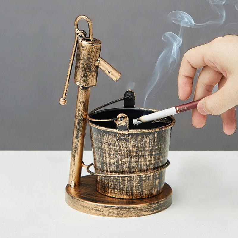 复古创意烟灰缸摆件铁艺做旧家用客厅茶几办公室欧式个性潮流烟缸