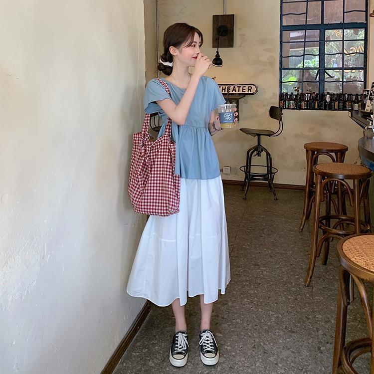 璩绒复古套装女夏季2021新款韩版网红衬衫小众半身裙气质两件套裙