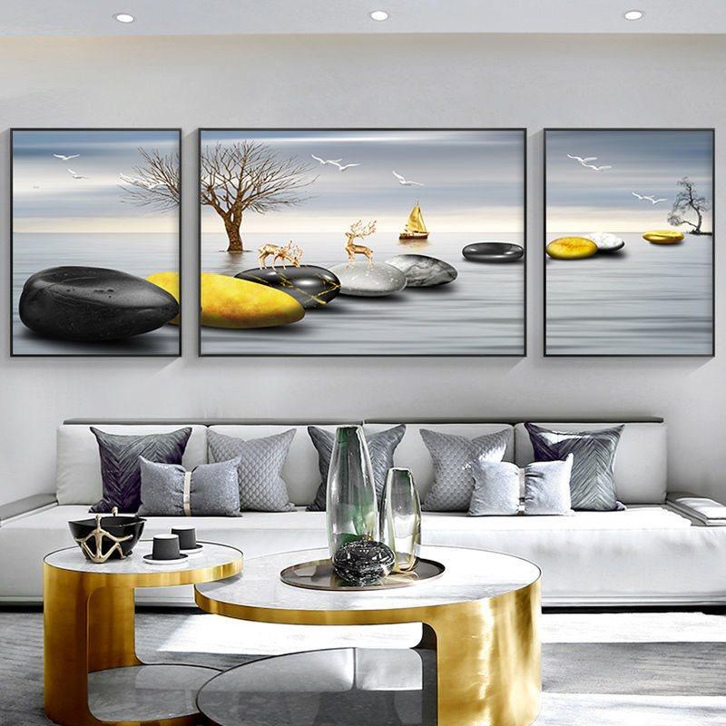 客厅r装饰画现代简约沙发后背景墙画卧室中式三联挂画有框北欧轻