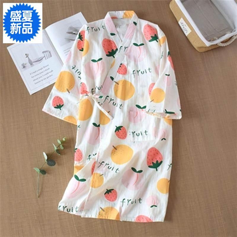 哺乳睡秋服款纱布浴衣女日式裙睡袍