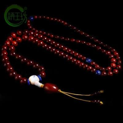 Small leaf red sandalwood Bracelet 108 tower beads lapis lazuli beads Buddha beads fashion sweater chain for men and women