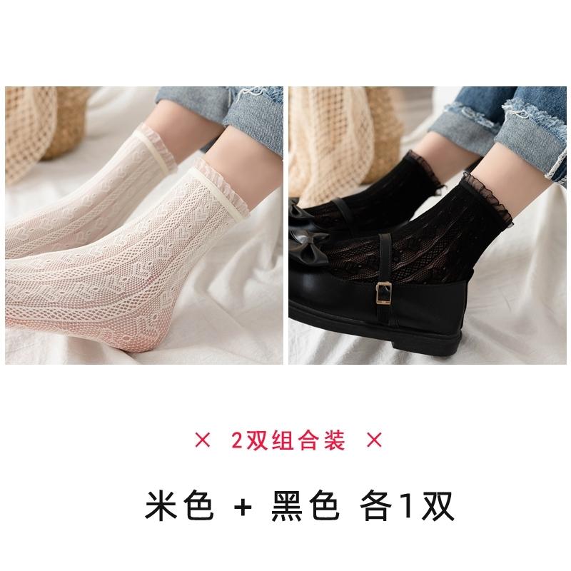 白色蕾丝袜d短筒袜子女中筒鞋外穿潮in皮搭配小s袜的日系小众设计