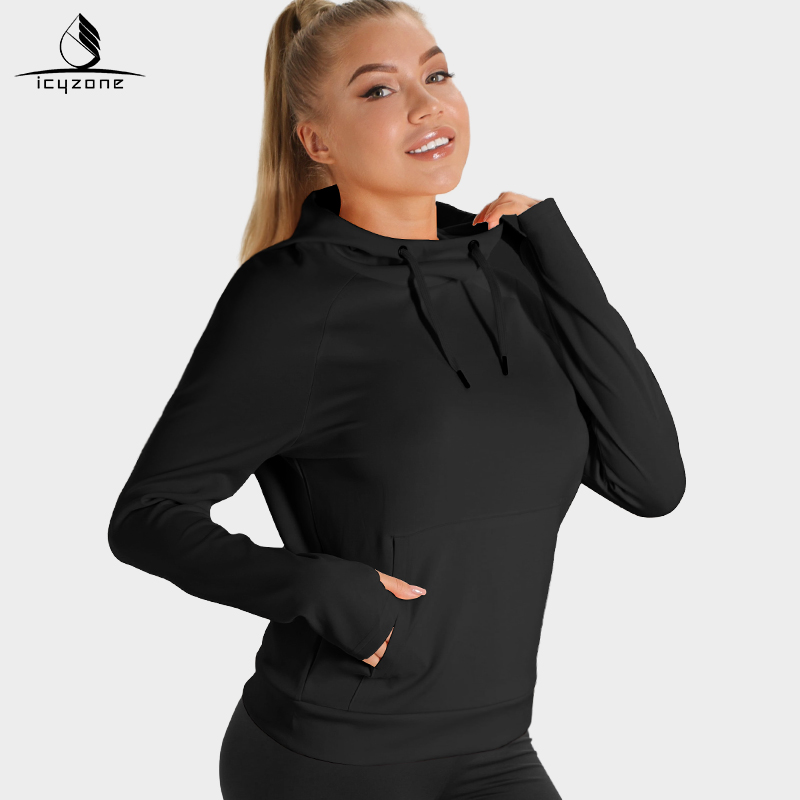 Cyzone running casual versatile drawstring sweater womens solid sports Hoodie Pullover loose high collar long sleeve