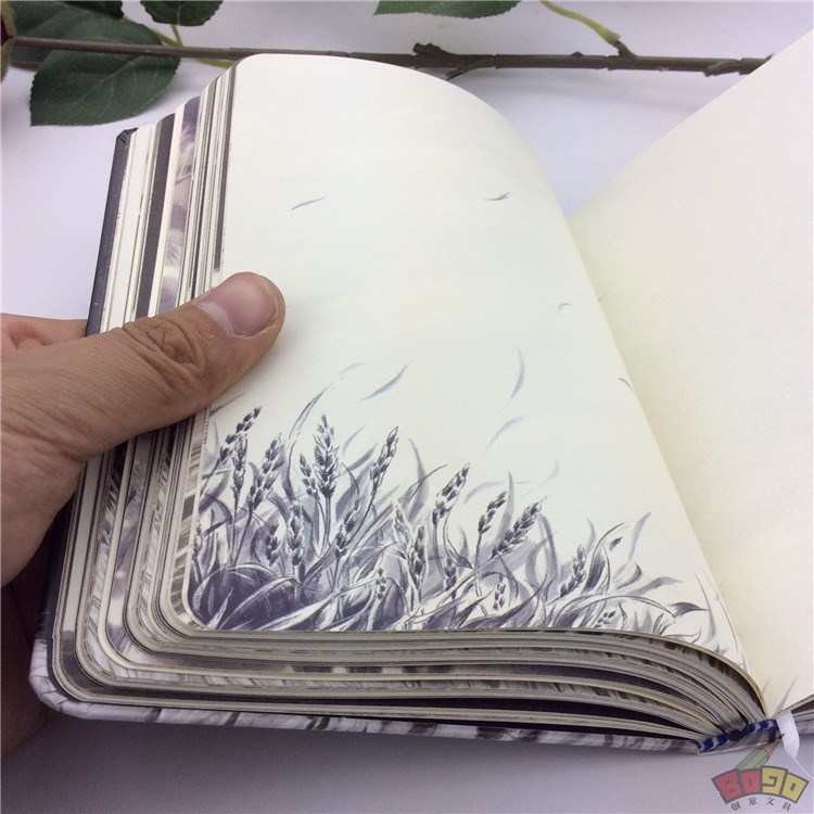 The inside pages of the notebook contain colorful patterns with illustrations. Its a beautiful retro diary and hand-painted stationery