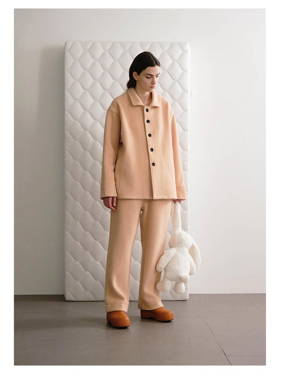 亦央买手店TRUNK PROJECT Wool Lounge Pants 粉色羊毛尼休闲长裤
