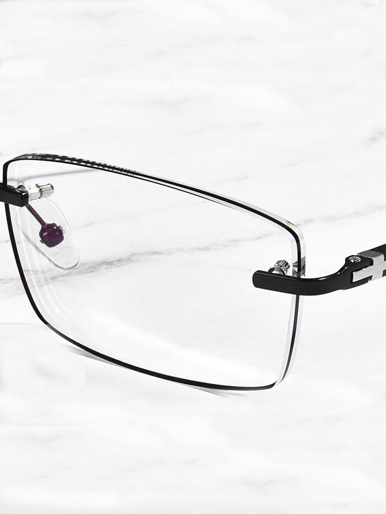 无框镶黑边新品眼镜近视男超轻可配有度数防蓝光辐射眼睛近视镜。
