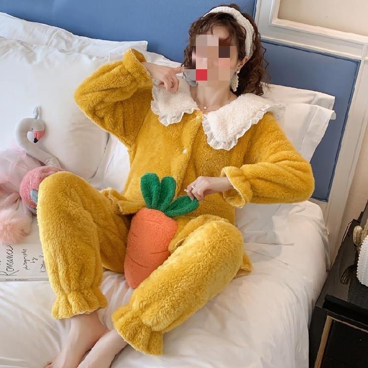 睡衣女冬季加绒加厚家居服小女生女装2019年修身绒套装妈妈装翻领