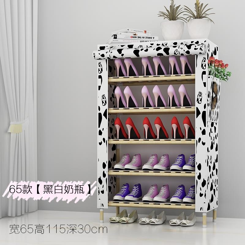 Shoe cabinet solid wood frame with dust cover cloth art multi-layer shoe rack simple household super large capacity large Oxford canvas width