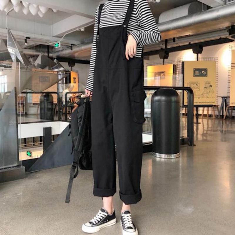新款夏工装直筒背带显瘦宽松休闲韩风口袋减龄宽松吊带连体长裤。