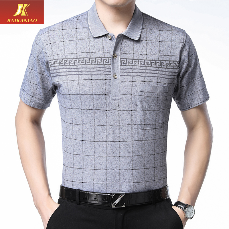 Dad short sleeve T-shirt middle-aged and old mens summer Lapel loose top mens summer thin half sleeve polo shirt