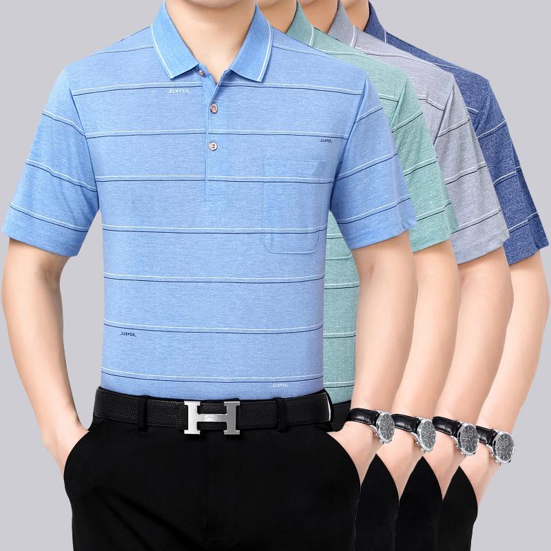 Dads short sleeve t-shirt mens summer middle-aged mens summer half sleeve Lapel fathers middle-aged and elderly striped shirt mens wear