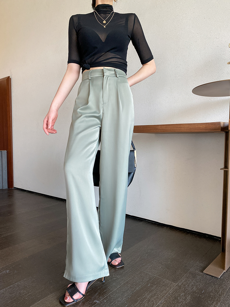 Vertical satin silk leg spring and autumn straight trousers tube trousers acetic acid suit trousers wide silk face high waist white female