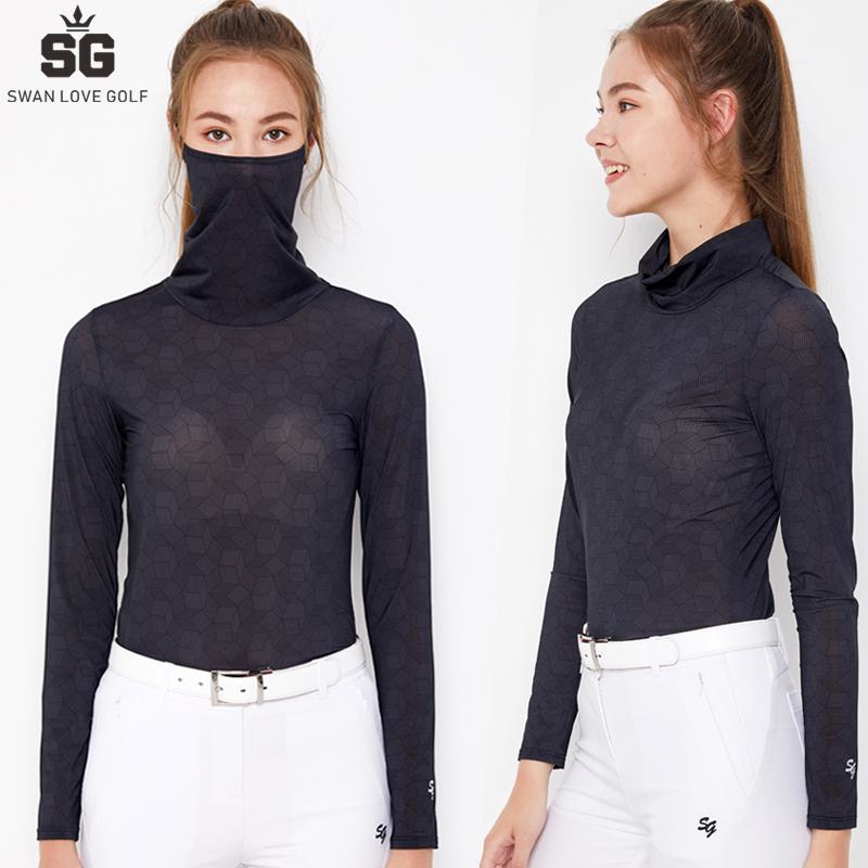高尔夫服装C女防晒衣冰丝护脸口罩面罩衣冰凉户外打底衫包脸长袖