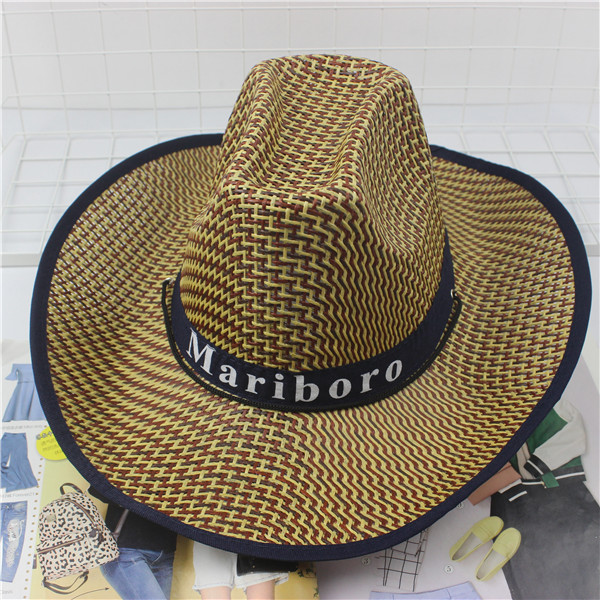 Straw hat cowboy hat mens Beach elderly large straw hat linen breathable sunshade mens middle-aged and elderly