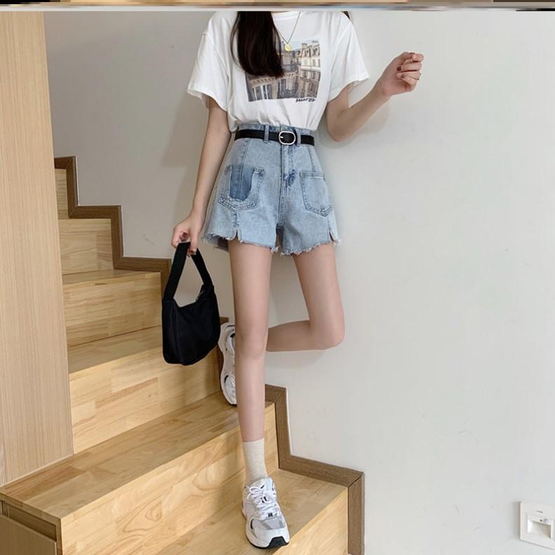 夏季复古浅色裤女设计感小众开衩毛边高腰显瘦百搭裤子短裤潮