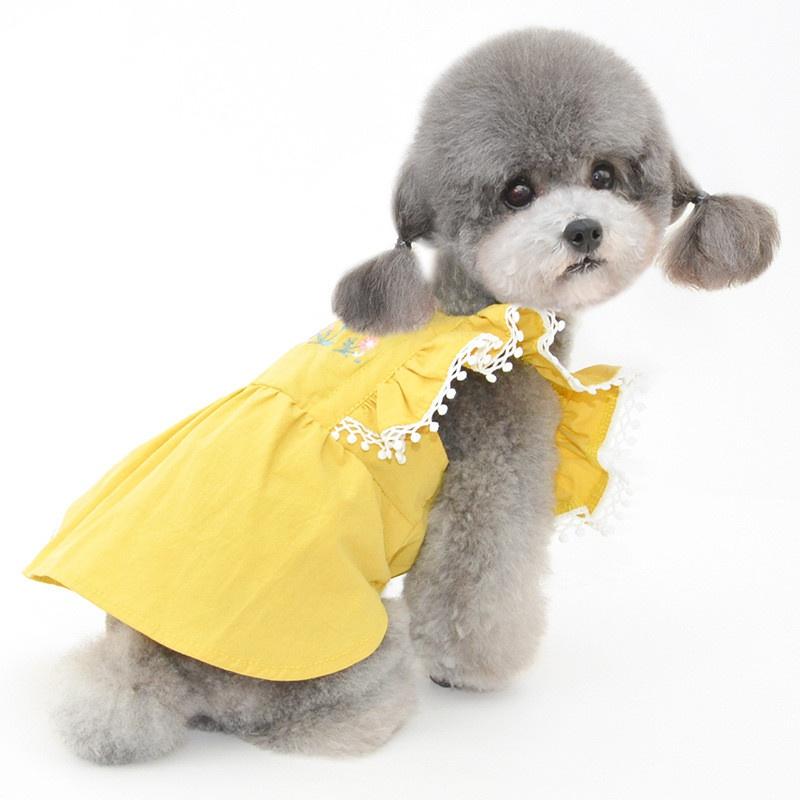 贝途春夏新款宠物裙子小狗猫咪连身裙绣花飞袖裙猫裙子狗宠物衣服