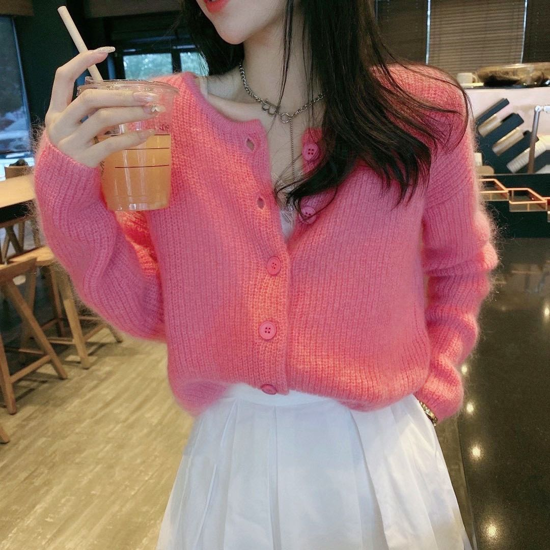 Mohair cashmere blended round neck short single breasted sweater cardigan coat womens 2021 spring rose pink