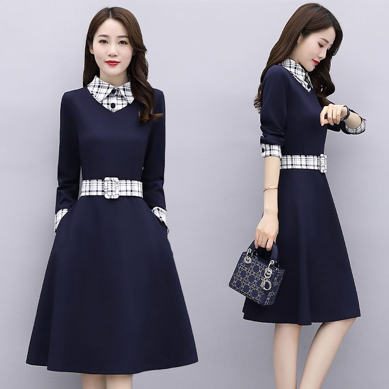 2020 spring new Korean high waist and knee length skirt shirt collar Plaid fake two pieces of thin dress