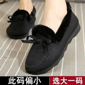 老北京布鞋女h棉鞋冬加绒雪地靴毛毛豆豆鞋加绒一脚蹬鞋