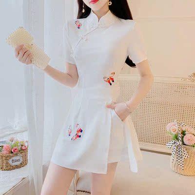 中国风套装女2021夏季新款小个子复古旗袍女改良大码两件套装女潮