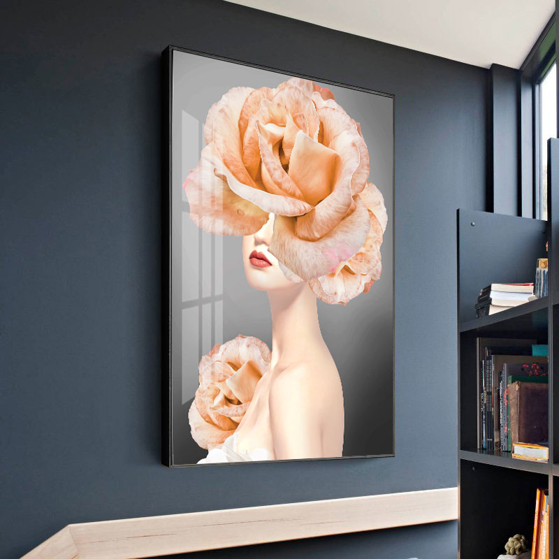 北欧风容院客厅黑白蝴蝶美女墙壁画
