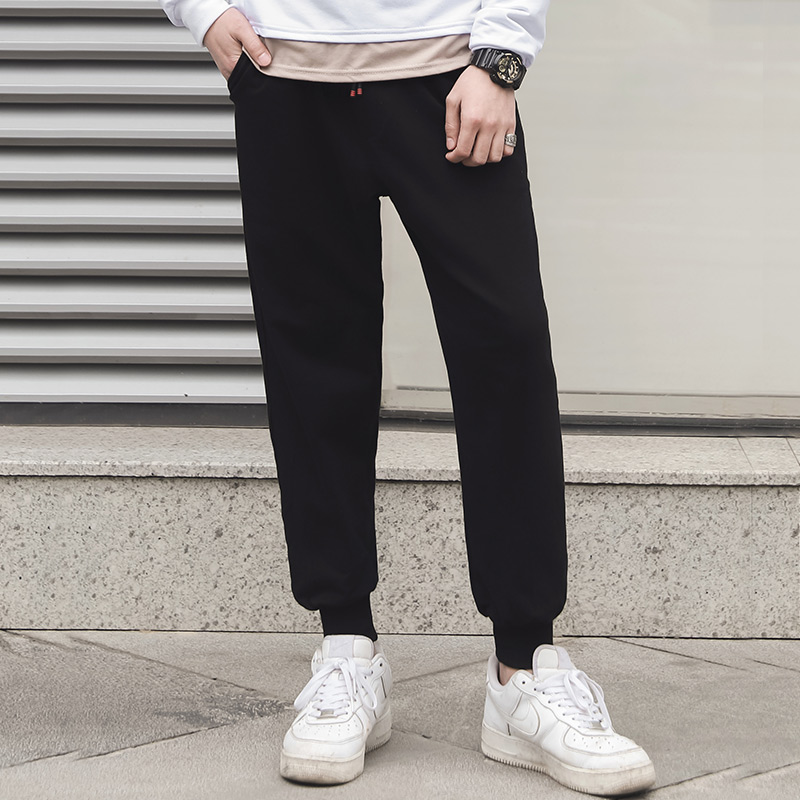Mens new spring casual pants, loose fit trend, thin sports pants, students black grey versatile pants