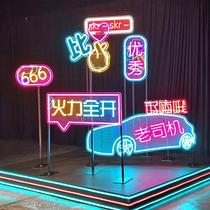 f其它装饰造f型霓M灯定制8.64W/虹发光字字吧广告牌12V酒母5年灯