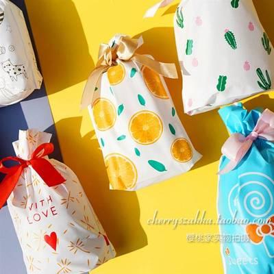 /50塑料糖束口h袋只可爱礼品收纳袋装果零食简约包袋抽绳袋