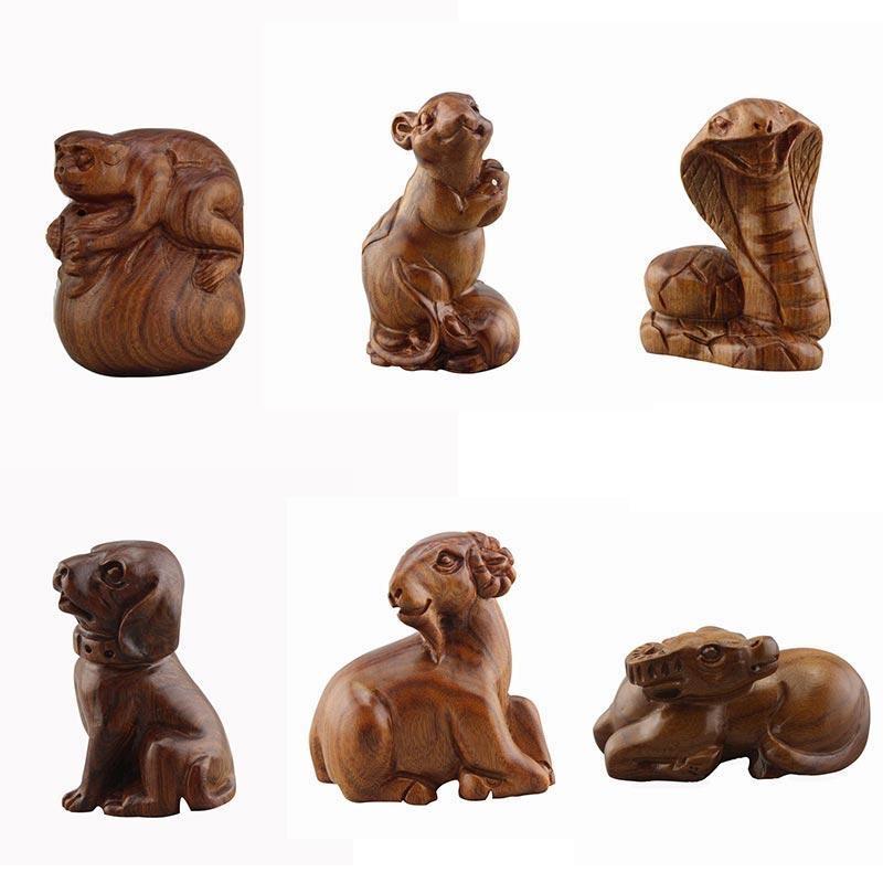 中國代購|中國批發-ibuy99|工艺品|雕刻黄花梨木雕12肖手把件老挝木质小工艺品十二生肖实心实木摆件