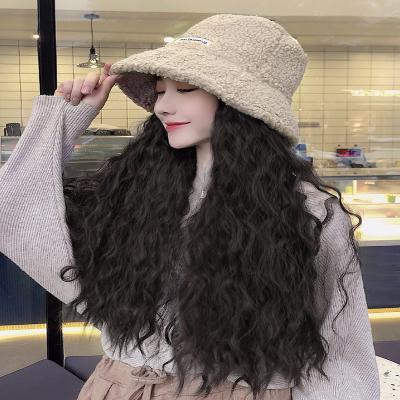 假发带帽子一体时尚潮流2019羊毛长卷发渔夫帽女中长发网红全头套