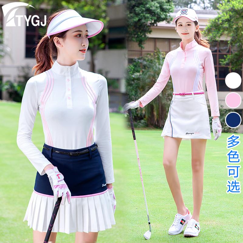 秋冬季高尔夫服装女款速干长袖防晒球衣服T恤防走光短裤裙子套。