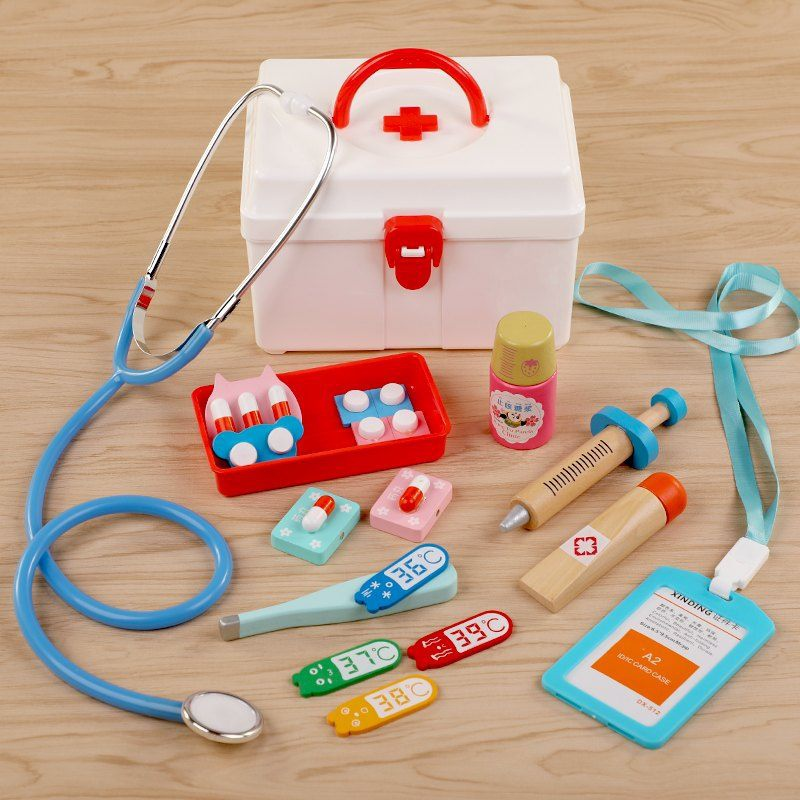 Doctor toys play house dentist role play Princess wooden tools auscultation props primary school students.