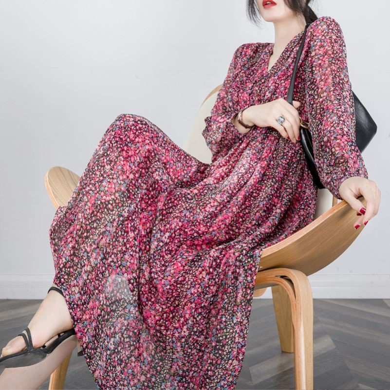 Red Floral Chiffon Dress Lady Xia Xianqi French retro V-neck 5 / sleeve print A-line dress