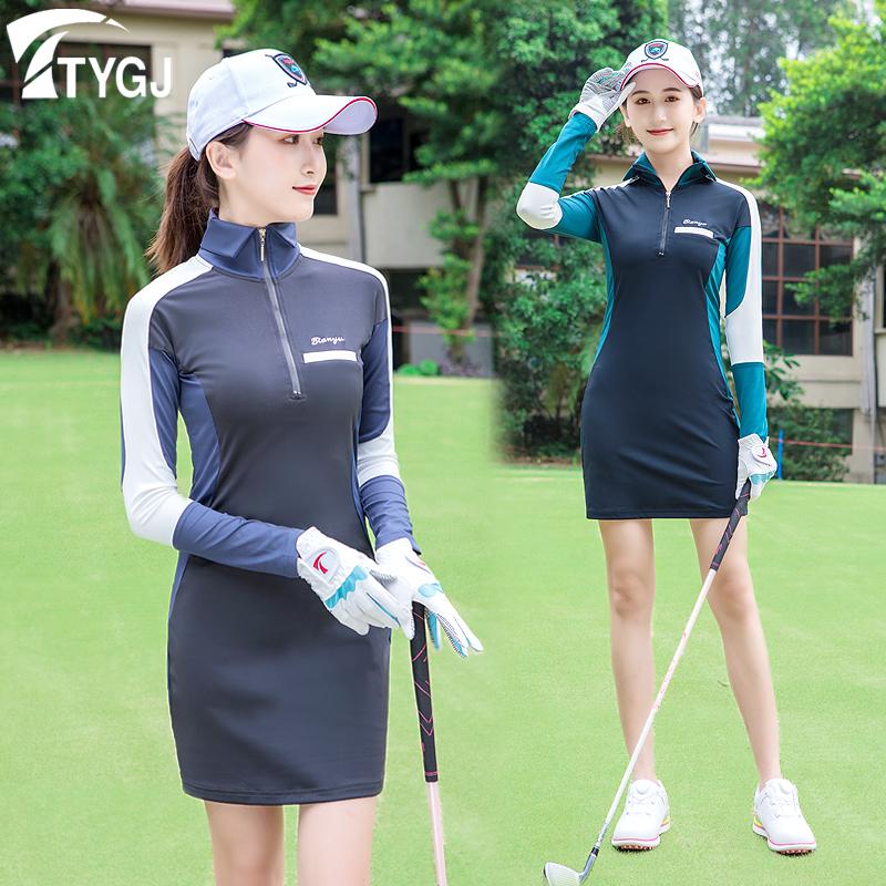 高尔夫服装女士长袖连衣裙v领高领修身短裙POLO衫运动T恤长裙。