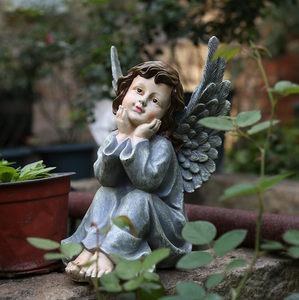 可爱石膏像摆件天使花园庭院装饰品雕塑小号人物雕像天使花盆