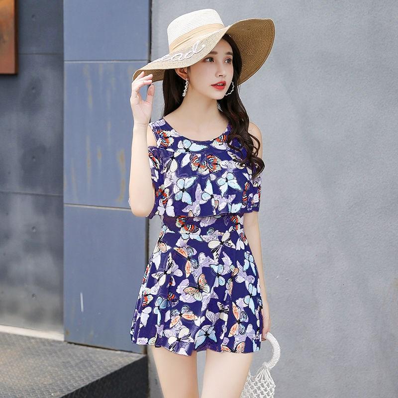时尚分体泳衣女士裙式平角遮肚韩国温泉显瘦两件套加大码游泳套装