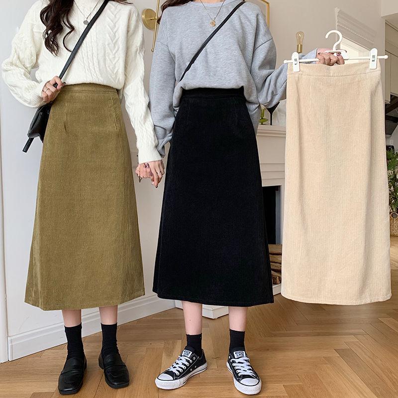 秋冬新款韩版灯芯绒A字裙中长款显瘦百搭加厚复古高腰包臀半身裙