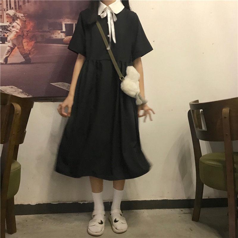 学院风甜美连衣裙女学生夏季新款短袖韩版宽松显瘦中长款a字裙子