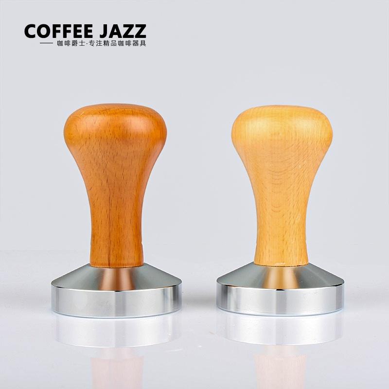 。COFFEE JAZZ意式咖啡机手柄压粉锤实木把手不锈钢压粉器51MM/5