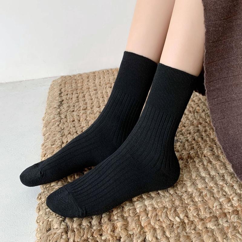 袜子女中筒袜韩国纯棉黑色长筒堆堆袜秋冬季纯色月子保暖