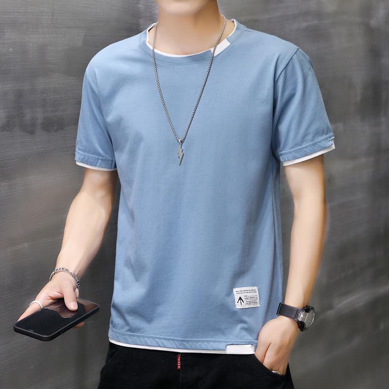 夏季男士短袖T恤新款圆领韩版休闲打底衫潮流青年学生宽松上衣服