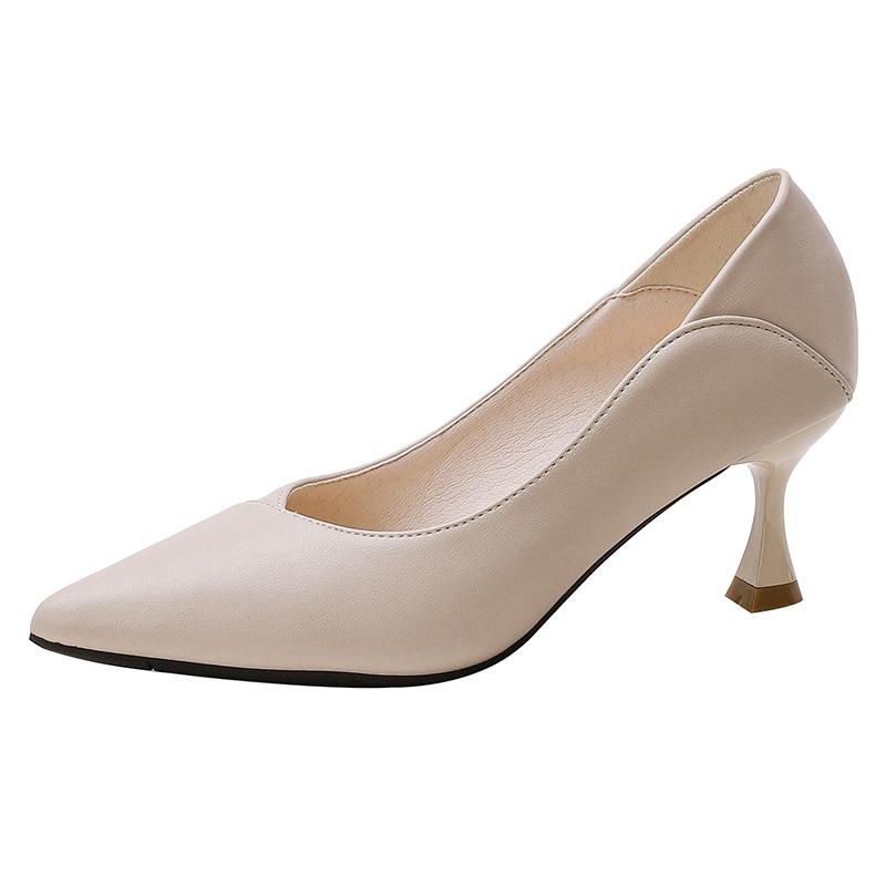 真夏新跟软头业鞋单鞋作中2021高工跟女细色尖职款女黑皮鞋鞋跟皮