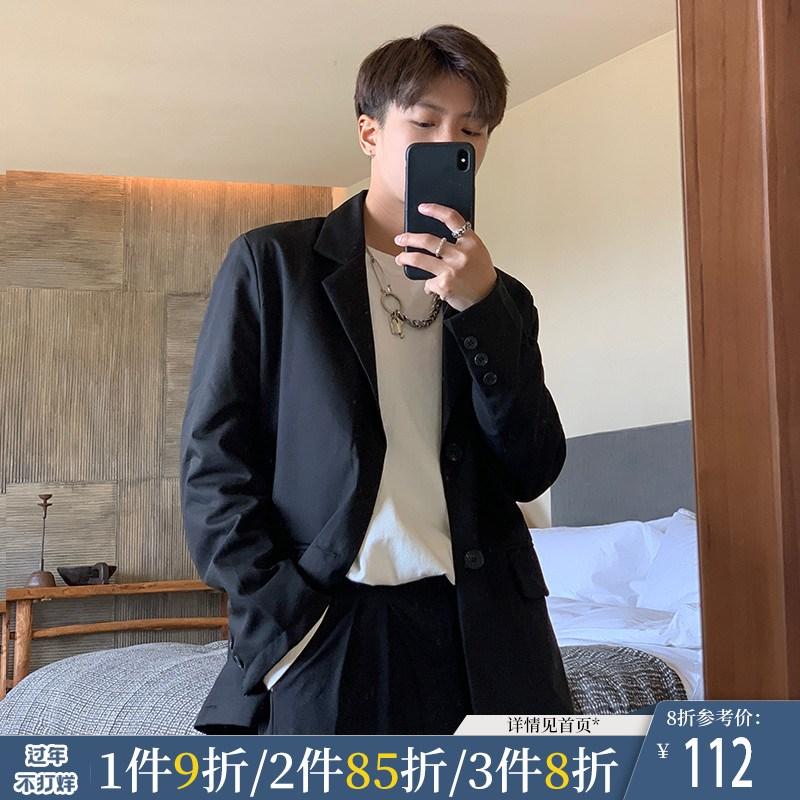 ONEMAX春季新品外套宽松潮流小西装男西服单排扣黑色帅气韩版绅士