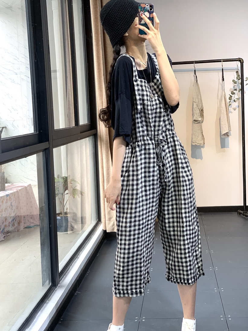 Su Shang summer literature and art leisure Plaid front patch bag age reduction versatile drawstring hemp material suspender pants womens suspender one piece